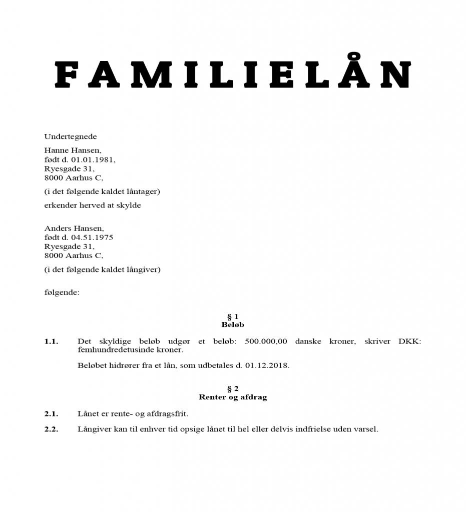 Rentefrit familielån